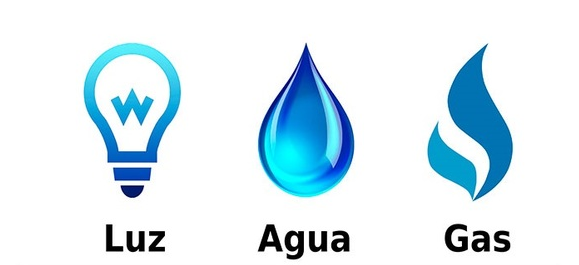 gás, água e luz
